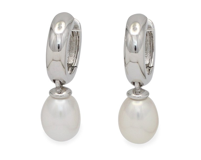 girls love pearls white fresh water pearl silver huggie earrings