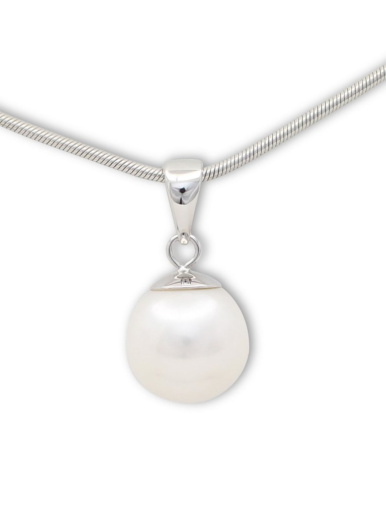 girls love pearls white fresh water pearl white gold round drop pendant