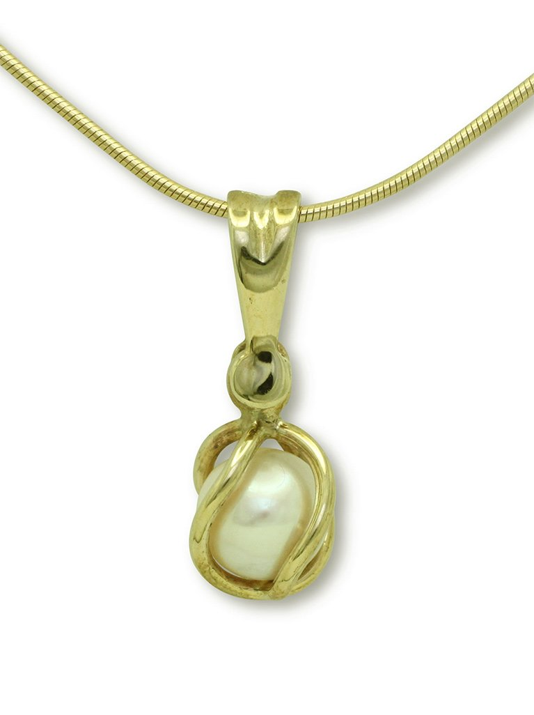 girls love pearls white fresh water pearl yellow gold cage drop pendant