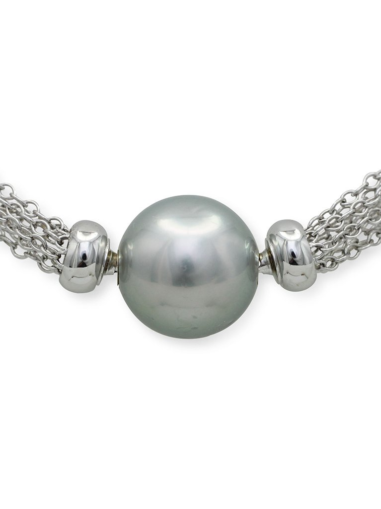girls love pearls white gold round grey tahitian interchangeable pearl necklet