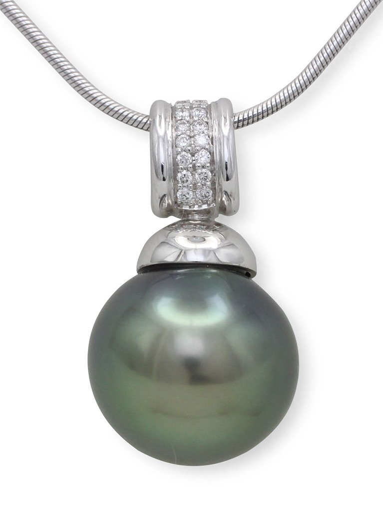 girls love pearls white gold round tahitian pearl and diamond bulb cap pendant
