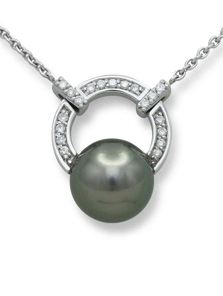 girls love pearls white gold round tahitian pearl and diamond horseshoe pendant