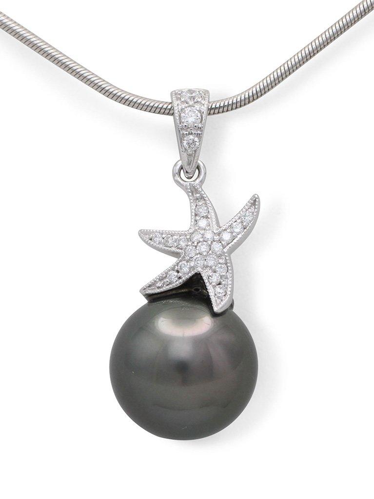 girls love pearls white gold round tahitian pearl and diamond set starfish pendant