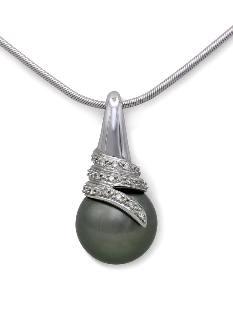 girls love pearls white gold round tahitian pearl and swirl design pendant