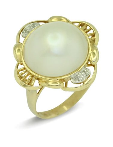 girls love pearls white mabe pearl diamond wire surround ring