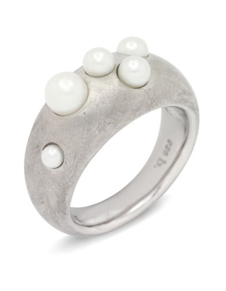 girls love pearls white multi pearl half round ring