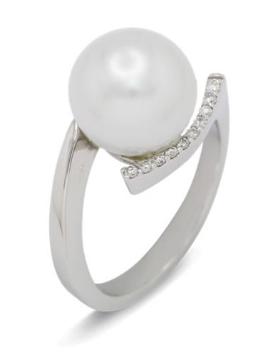 girls love pearls white pearl curved diamond shoulder ring