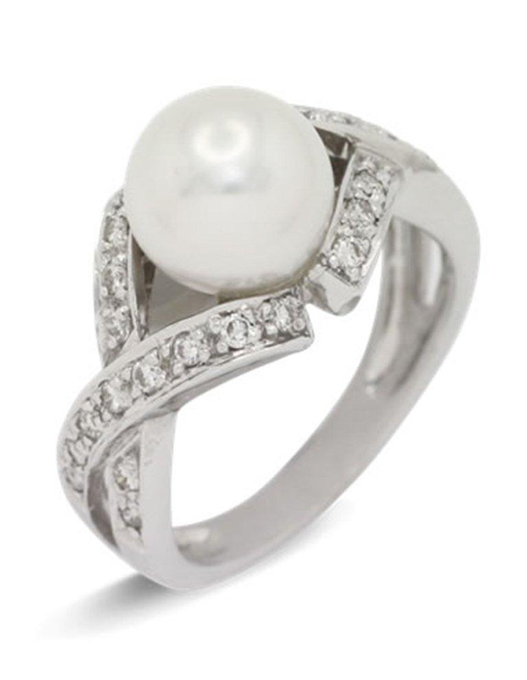 girls love pearls white pearl diamond cross over shoulder ring