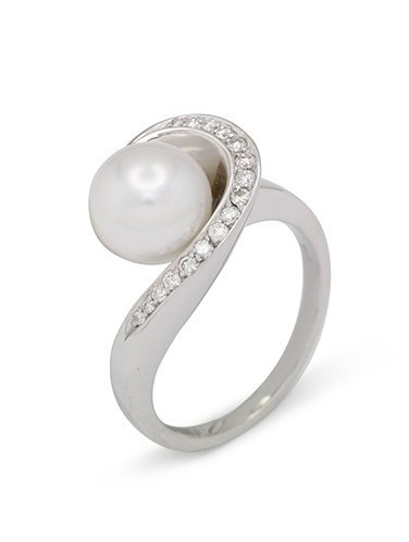 girls love pearls white pearl diamond wrap around shoulder ring