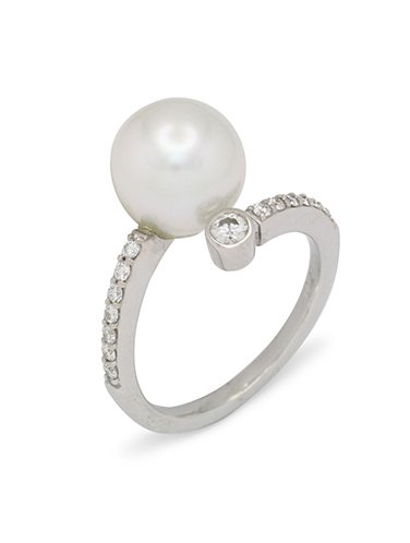 girls love pearls white pearl pave single feature diamond ring