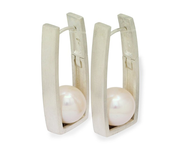girls love pearls white round fresh water pearl silver rectangle huggie earrings