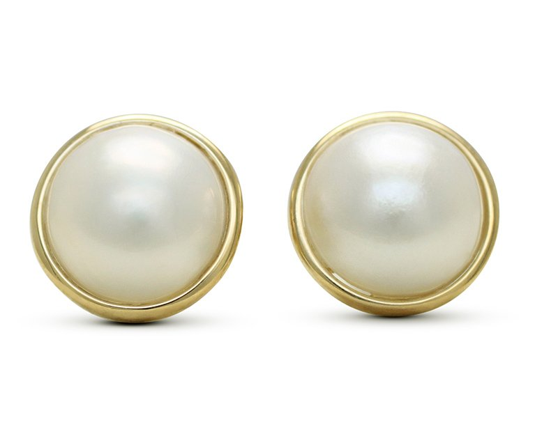 9ct Yellow Gold 10 0mm Round Mabe South Sea Pearl Rubbed Rim Set Stud Earrings From 599