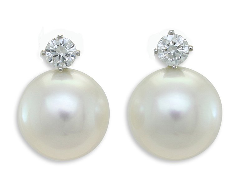 18ct White Gold 12 5mm Round South Sea Pearls And 2 0 50ct Diamond Set Detachable Studs Earrings From 5480