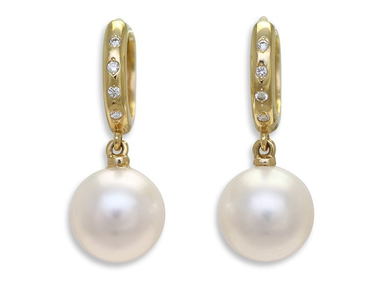 18ct Yellow Gold 10 5mm Round South Sea Pearl And 6 0 08ct Diamond Set Huggie Drop Earrings From 1880