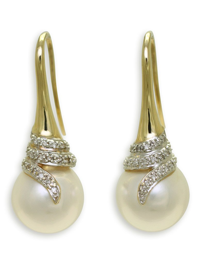 girls love pearls white round south sea pearl diamond wrap cone hook earrings
