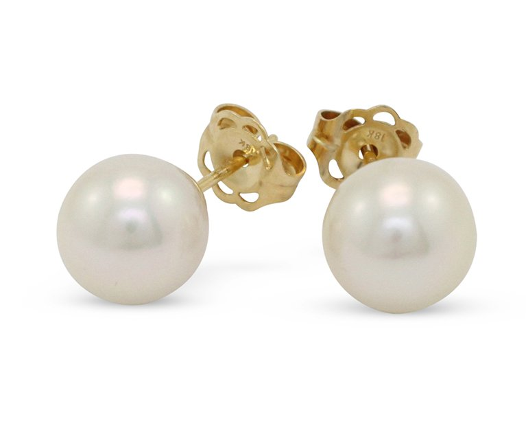 girls love pearls white round south sea pearl plain yellow gold stud earrings