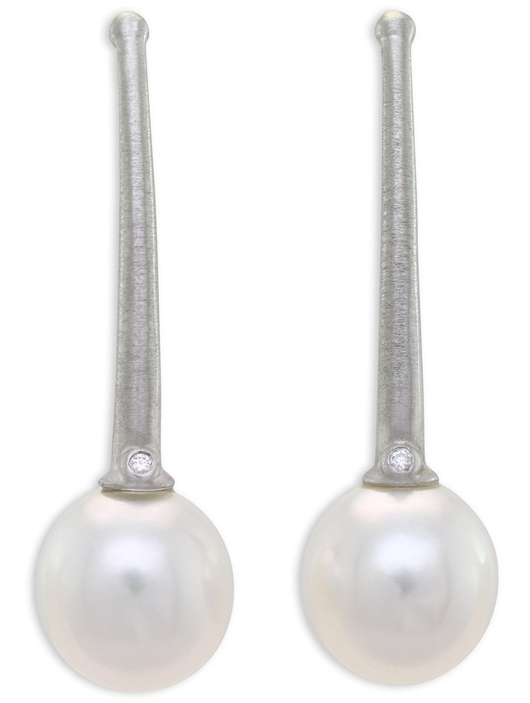 girls love pearls white south sea pearl diamond brushed long trumpet hook drop earrings