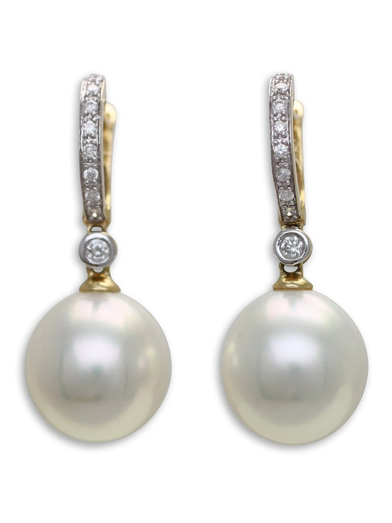 girls love pearls white south sea pearl diamond grain set feature huggie earrings