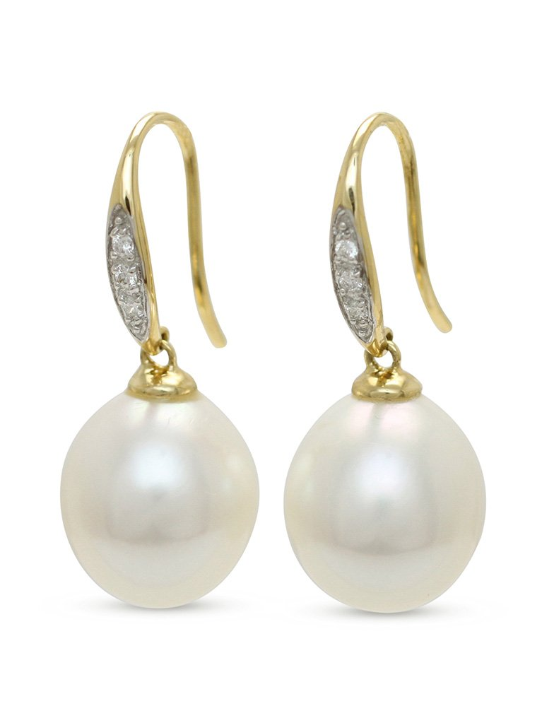 18ct Yellow Gold 11 5 12mm Oval South Sea Pearl And 6 0 07ct Diamond Grain Set Hook Drop Earrings From 2350
