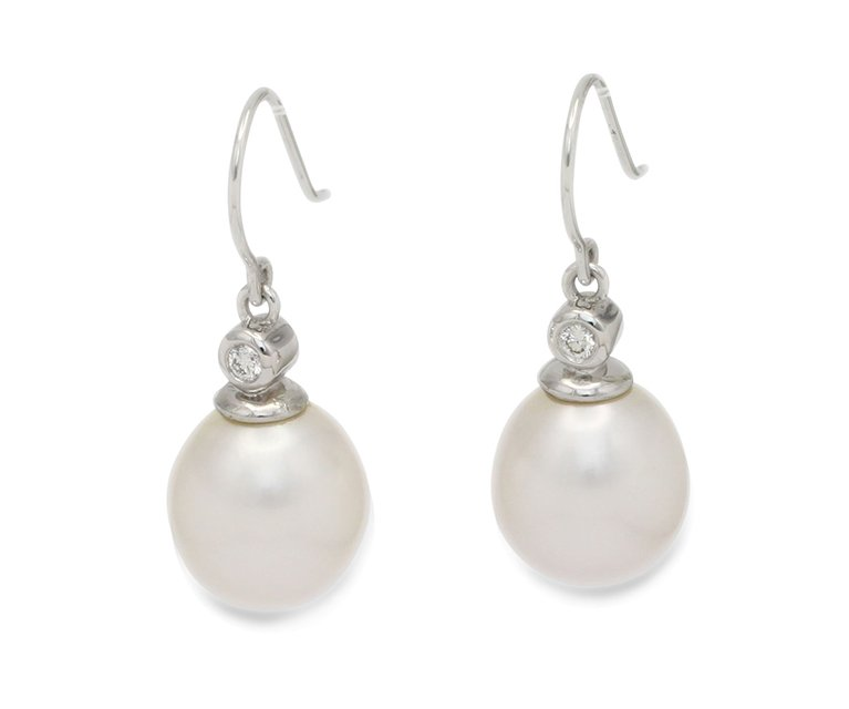 girls love pearls white south sea pearl diamond white gold hook earrings