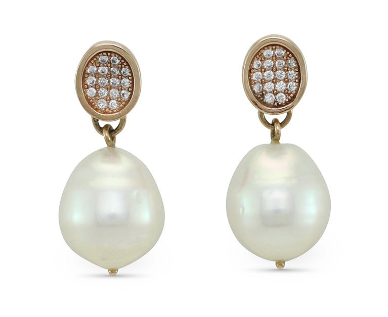 girls love pearls white south sea semi baroque pearl rose gold oval pave stud earrings