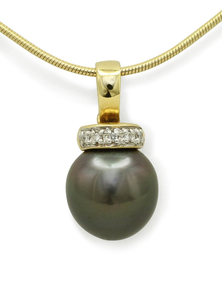girls love pearls yellow gold drop tahitian pearl and diamond enhancer pendant