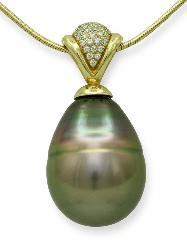 girls love pearls yellow gold peacock coloured tahitian drop pearl and diamond pendant