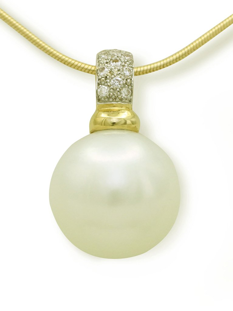 girls love pearls yellow gold south sea pearl and diamond pave set enhancer