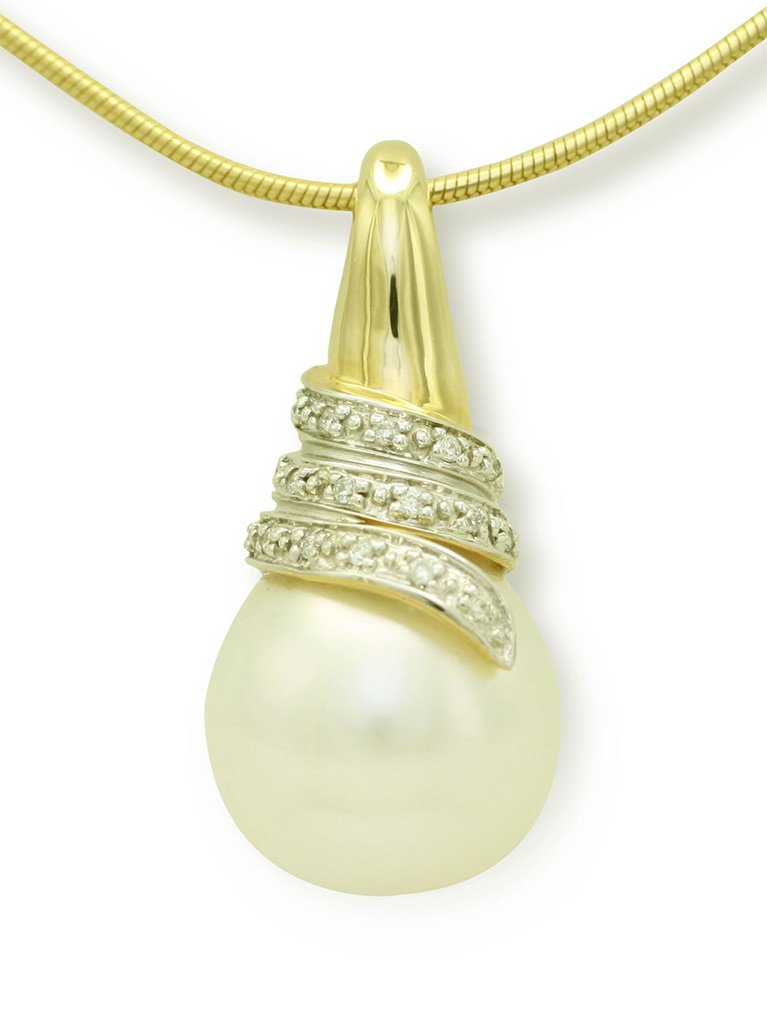 girls love pearls yellow gold south sea pearl and diamond set swirl pendant