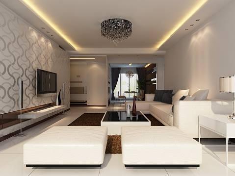 un salotto moderno con due pouf e un divano in pelle bianco