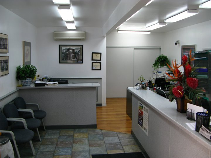 The front desk of our auto body repair shop on Oahu, HI