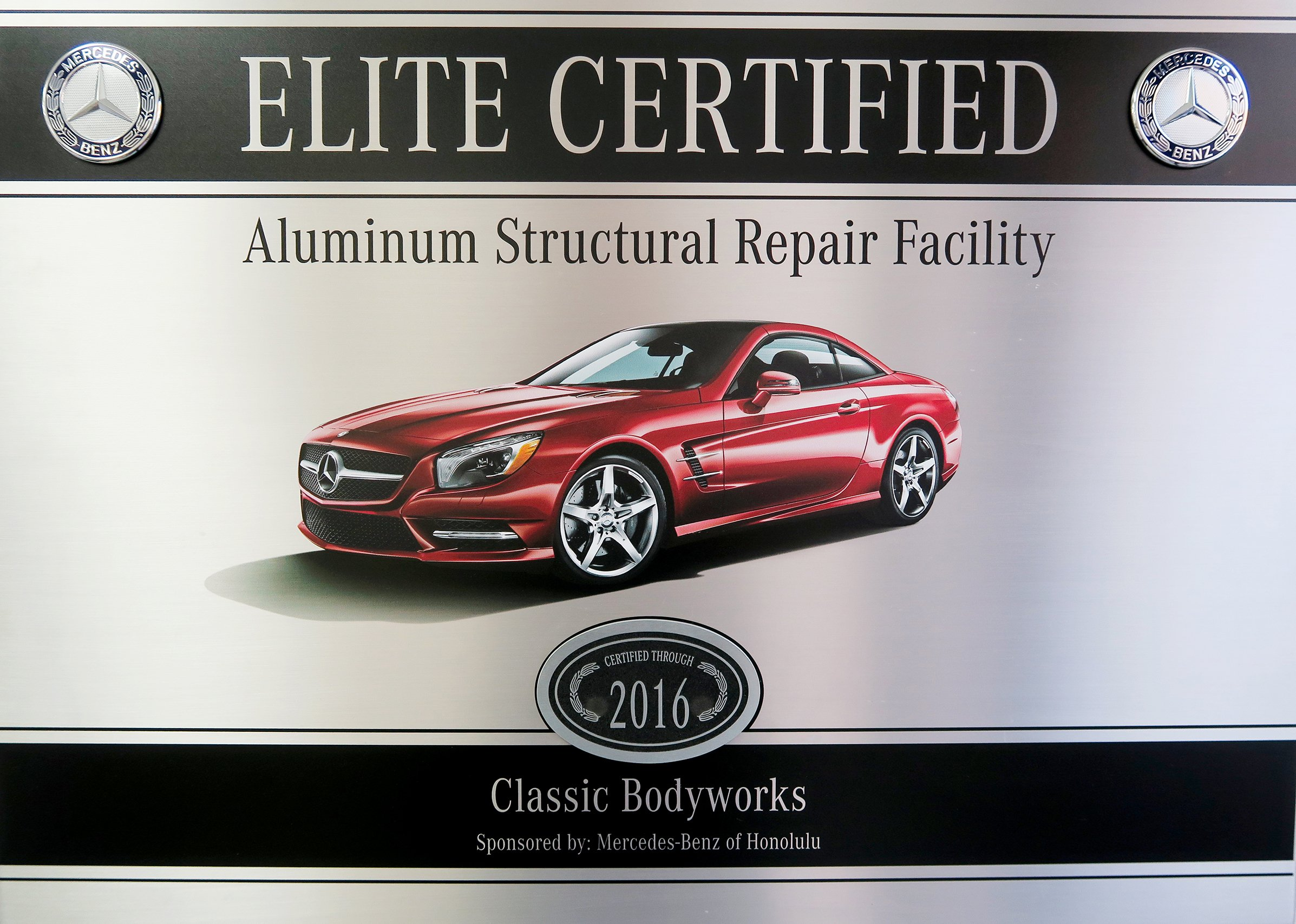 Collision repair oahu hi classic bodyworks for Authorized mercedes benz mechanic