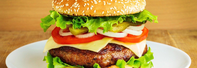 Vista da vicino di un hamburger a Marmirolo