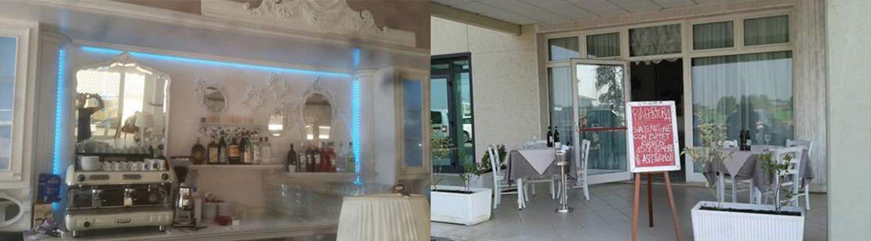 Vista dei tavoli da pranzo a Marmirolo