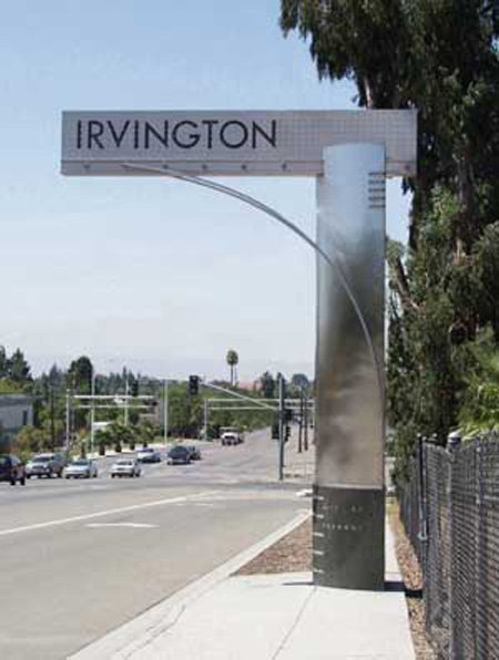 Stainless Signs Marking the Entrances to Fremont's Irvington District