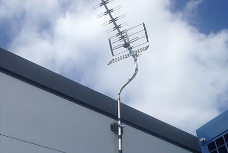 High gain tv aerial installed on commercial building
