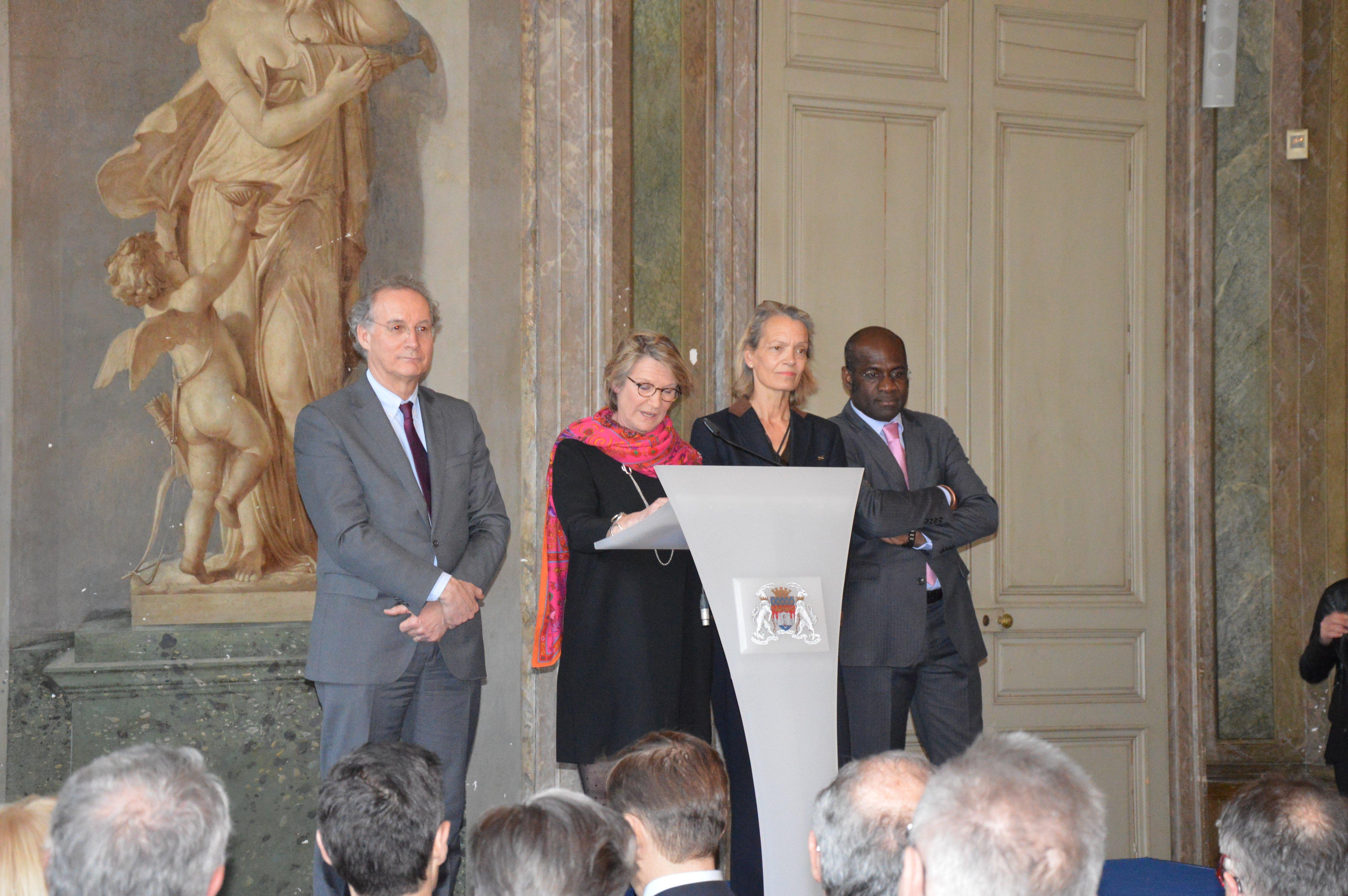 Photo, discours, Anne BREZILLON, Anne WALRYCK, Nicolas FLORIAN et Pierre de Gaétan NJIKAM-MOULIOM, anniversaire 90 ans Rotary Club Bordeaux