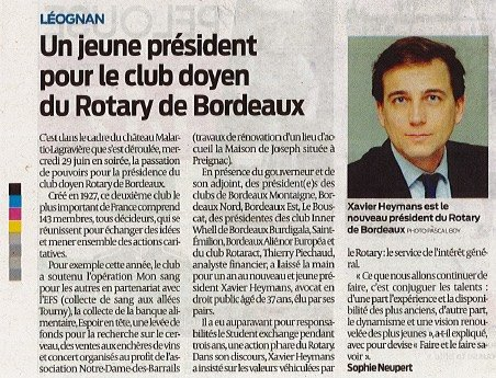 Article Sud Ouest Nomination Rotary Club Bordeaux Xavier Heymans