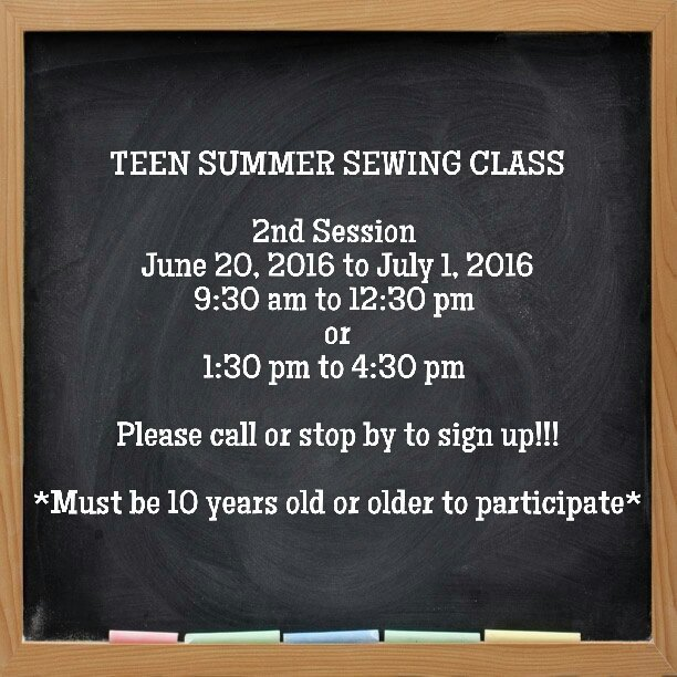 Teen Summer Sewing Class - 2nd session