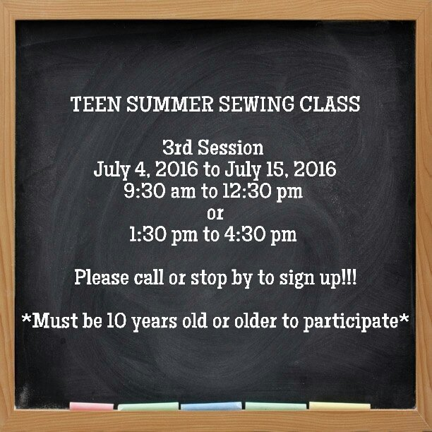 Teen Summer Sewing Class - 3rd session
