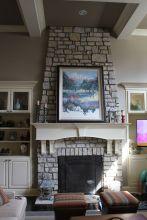 A brick fireplace