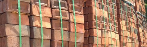 Stacks of bricks for construction