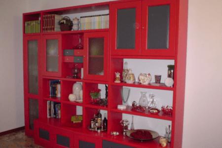 libreria, legno, falegname, rosso