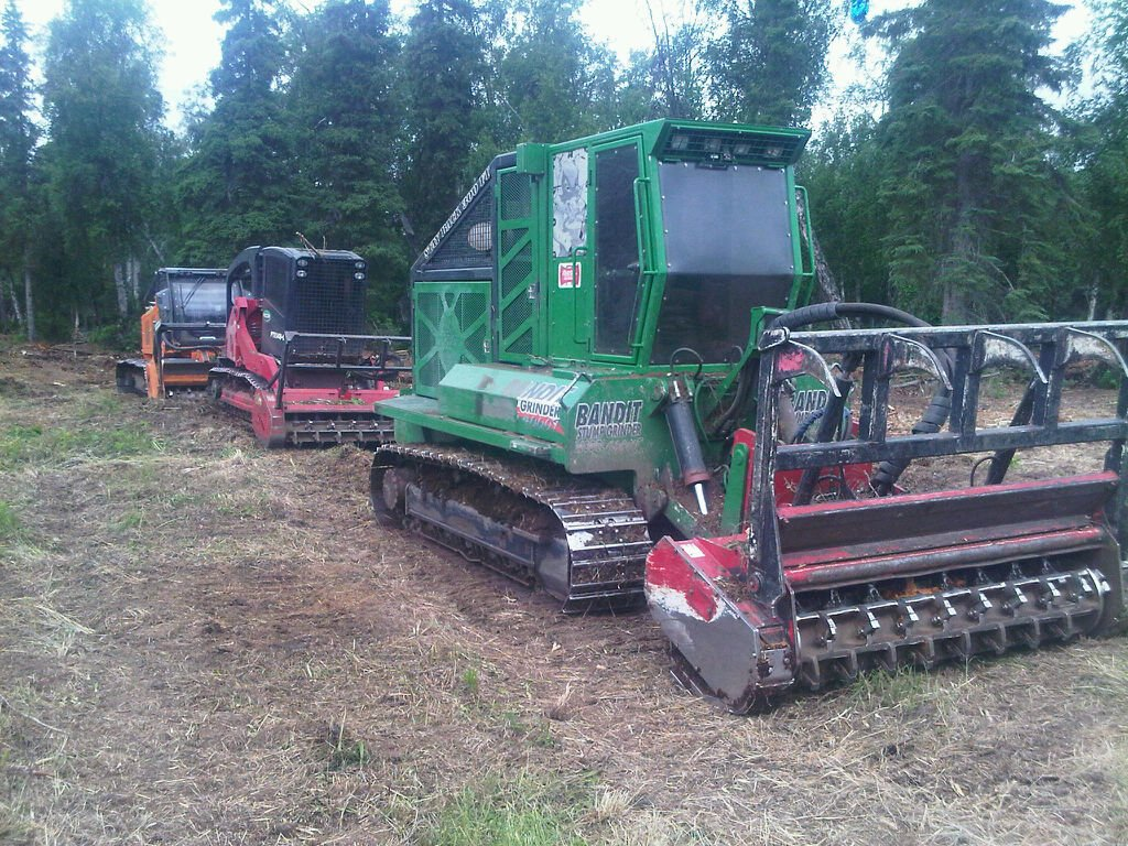 Machine used for excavation and land clearing at the project site in Anchorage, AK