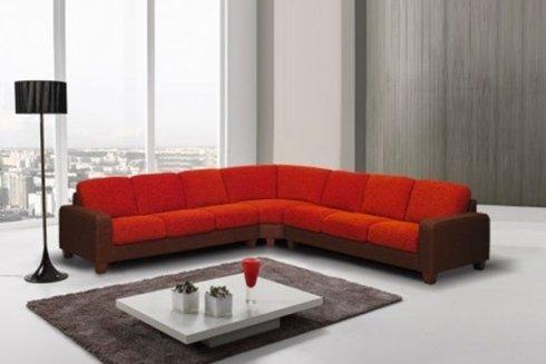 divano angolare rosso e nero