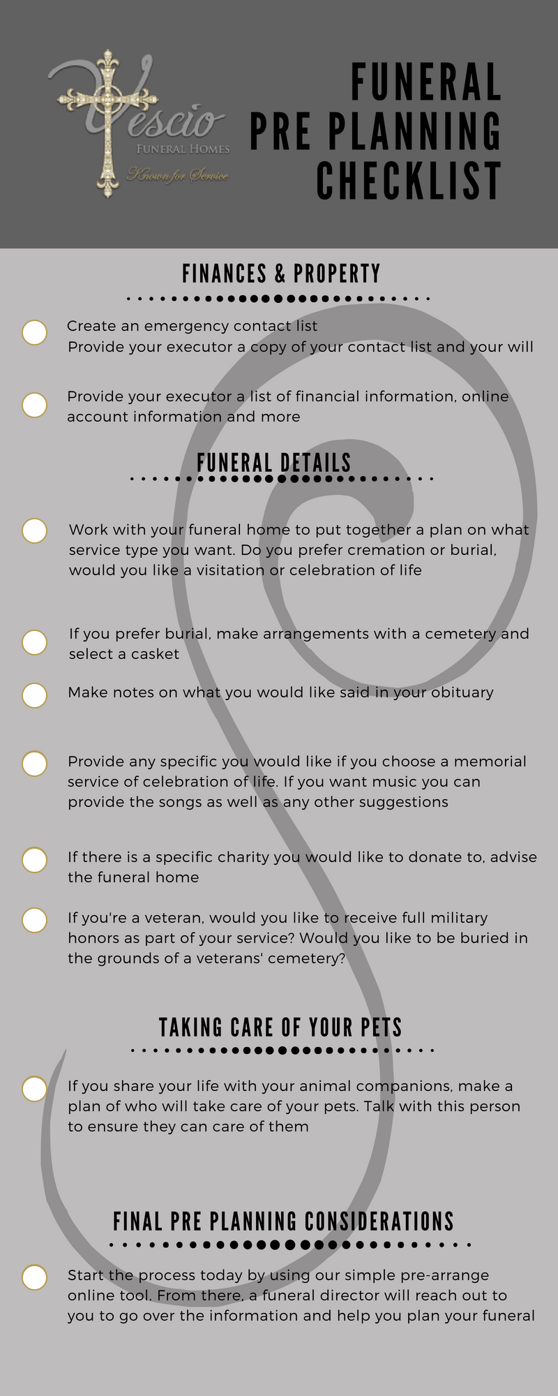 funeral pre planning checklist vescio funeral homes