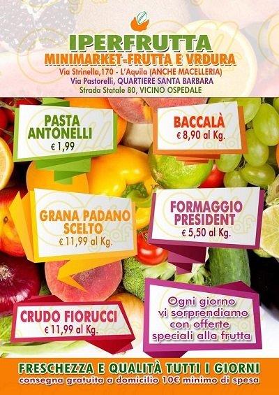 volantino con listino negozio frutta e verdura