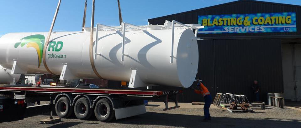 Abrasive blasting in progress in Dunedin