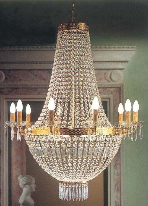 Sospensione con montatura in ottone dorato e pendagliera a cristalli molati