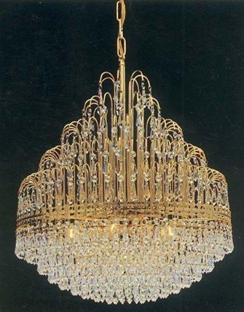 Sospensione in ottone dorato completa di cristalli Swarovsky
